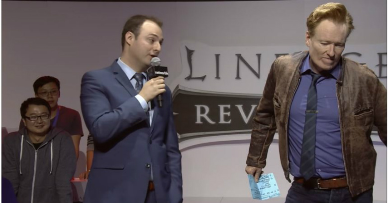 Конан О'Брайан фанат «Lineage 2: Revolution»? Презентация PvP в формате 50 на 50