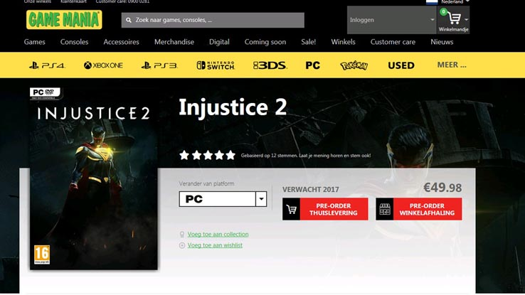 В данный момент РС версия Injustice 2 появилась в ассортименте европейских интернет магазинов GameMania и Amazon.fr.
